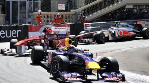 Sebastian Vettel leads the Monaco GP