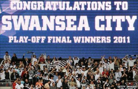 Swansea City fans celebrate promotion