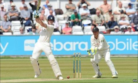 Durham's Ben Stokes hits a boundary