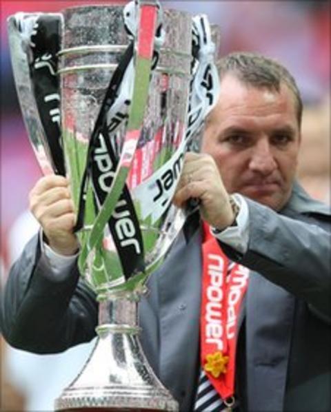 Brendan Rodgers celebrates