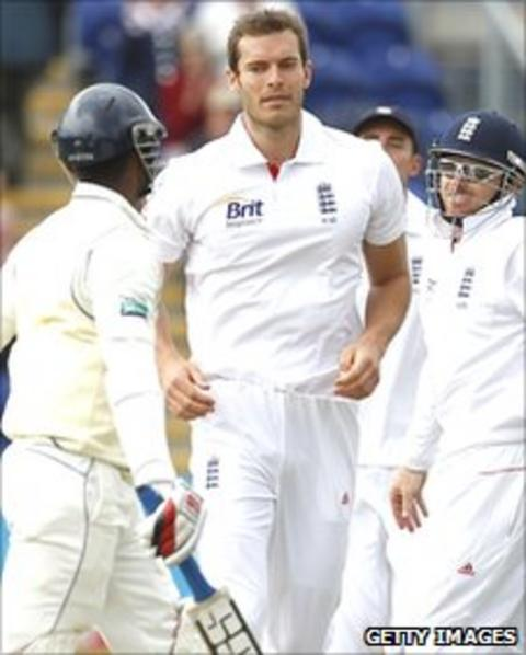 Chris Tremlett (centre) after bowling Tharanga Paranavitana on day two of the first Test in Cardiff