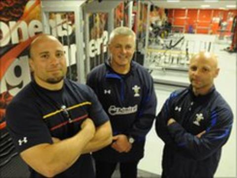 Dan Baugh (left) with Warren Gatland and Adam Beard