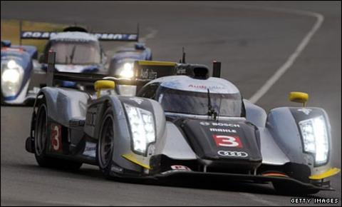 Allan McNish in practise in his new Audi