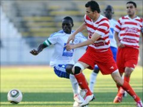 Africain striker Hamza Messaadi (right) and Sofapaka captain James Situma (left).