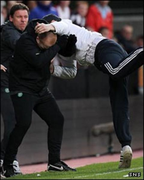 Neil Lennon is attacked at Tynecastle