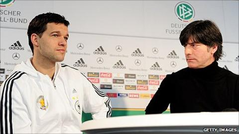 Michael Ballack (left) and Germany manager Joachim Low
