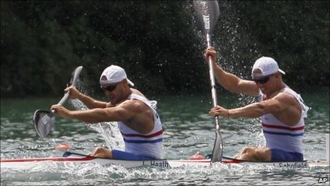 Liam Heath and Jon Schofield compete in the European Championships in Belgrade