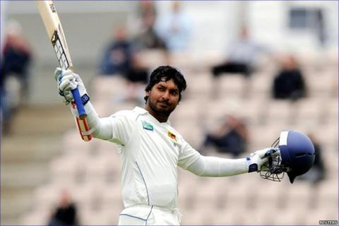 Kumar Sangakkara celebrates his hundred