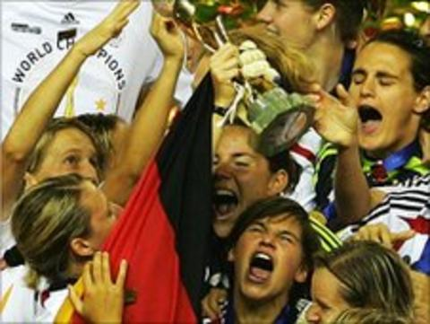 Germany's women's football team celebrate winning the World Cup