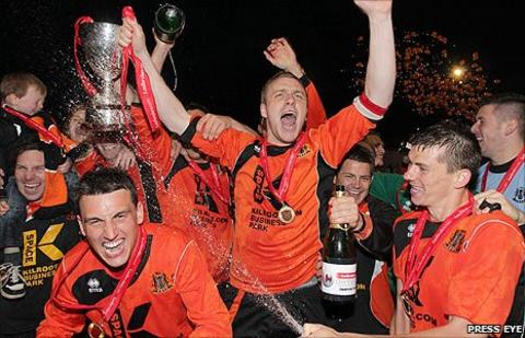 Carrick Rangers celebrated winning the Championship One title in May 2011