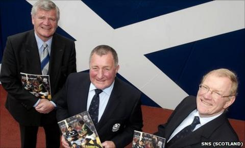 President Ian McLaughlan is joined at Murrayfield by outgoing Scottish Rugby president Allan Munro (left) and interim chief executive Jock Millican (right) ahead of the agm