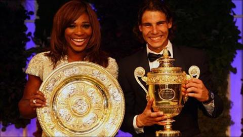 2010 Wimbledon champions Serena Williams and Rafael Nadal