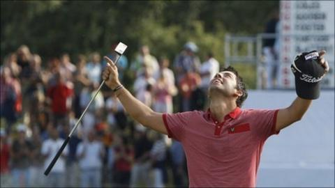 Pablo Larrazabal celebrates winning the International Open in Munich