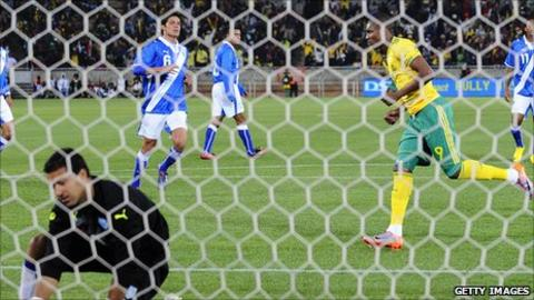 South Africa's Katlego Mphela scores against Guatemala