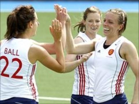 Kate Walsh (right) celebrates scoring