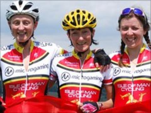 The gold winning women's mountain bike team of (l-r) Julie Lyness, Jacqui Fletcher and Nikki Sharpe