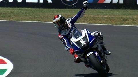 Jorge Lorenzo celebrates his win at Mugello