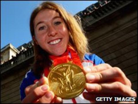 Nicole Cooke with her Beijing Olympic gold medal