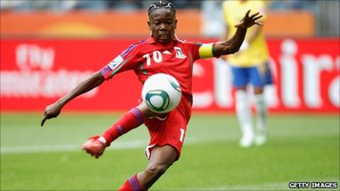Anonman, Equatorial Guinea's captain and striker in action at the Women's World Cup