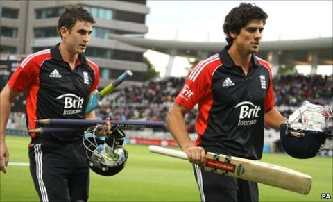 Craig Kieswetter and Alastair Cook leave the field after their stunning batting display