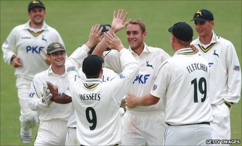 Stuart Broad and Notts celebrate