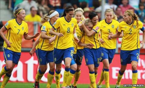 Marie Hammarstrom (number 20, partially hidden) is congratulated after scoring the winning goal
