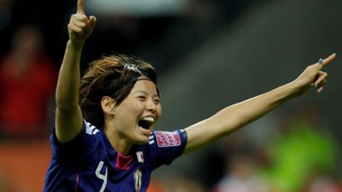 Saki Kumagai scores the winning penalty in the Women's World Cup final