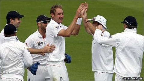 Stuart Broad celebrates after bowling Gautam Gambhir