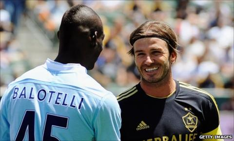 Manchester City striker Mario Balotelli and David Beckham