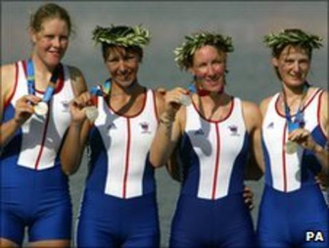 Houghton (left) and the rest of the GB women's quad sculls rowing team show off their silver medals at the Olympic Games in Athens in 2004