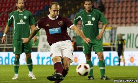 Jamie Hamill nets from the penalty spot at the Sostoi Stadium