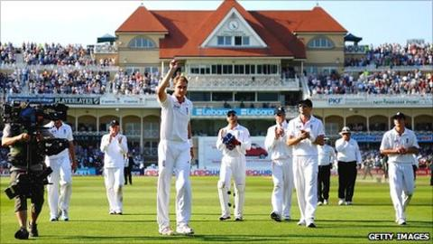 Stuart Broad celebrates his hat-trick