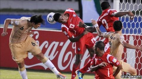Egypt's Ahmed Hegazi heading a goal against Panama