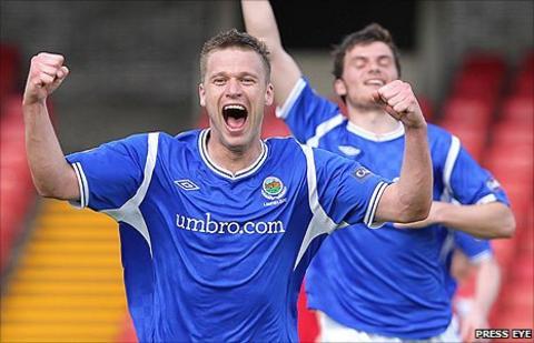 Linfield striker Peter Thompson
