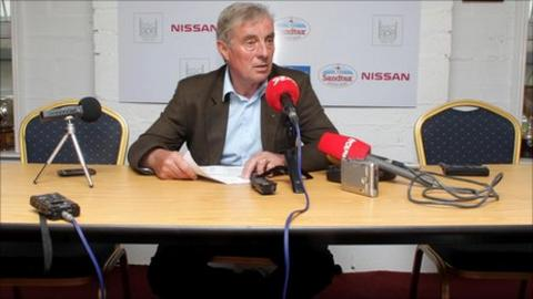 St Pat's boss Pete Mahon sits alone at a press conference after players refused to be involved in media activities