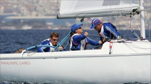 GB sailors John Robertson, Hannah Stodel and Stephen Thomas