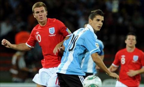 England Under-20 player Callum McManaman in action against Argentina