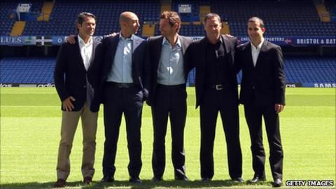 Steve Holland (second right) with the rest of the Chelsea coaching staff, fitness coach Jose Mario Rocha, first team assistant coach Roberto Di Matteo, Andre Villas-Boas and scout Daniel Sousa