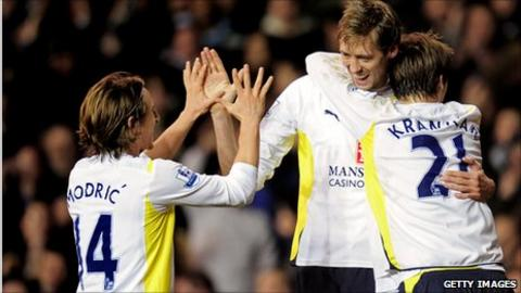 Luka Modric (left) and Peter Crouch (centre)