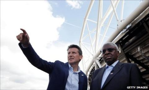 Lord Coe and Lamine Diack at the Olympic Park