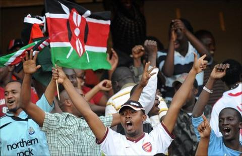 Kenyan football fans pictured in 2009