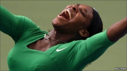 Serena Williams celebrates her win in the final of the Rogers Cup