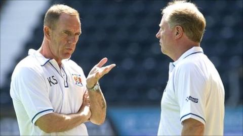 Kilmarnock management team of Kenny Shiels and Jimmy Nicholl