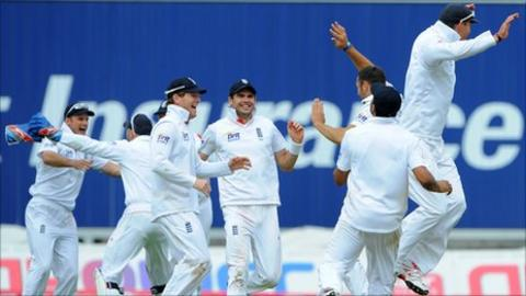 England celebrate victory over India at Edgbaston