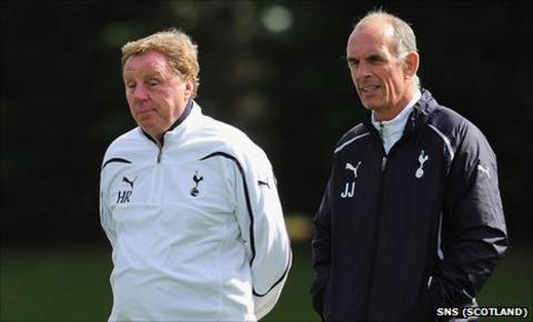 Joe Jordan (right) with Tottenham manager Harry Redknapp