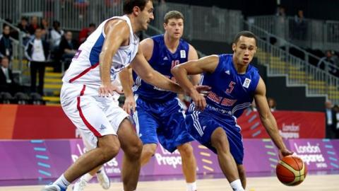 Andrew Lawrence of Great Britain in action during the match between Great Britain and Serbia.