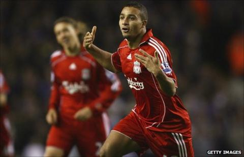 Nabil El Zhar celebrates his only goal for Liverpool, back in 2007