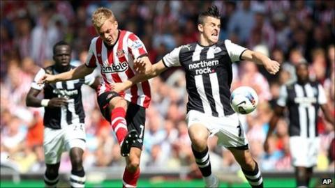 Sebastian Larsson and Joey Barton were involved in first-half controversy