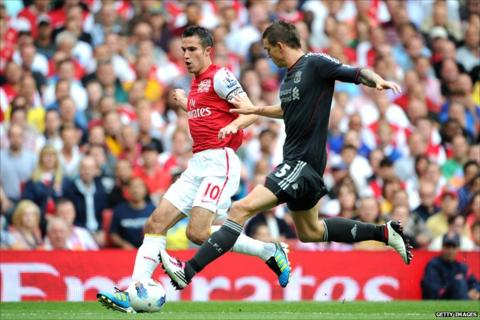 Robin van Persie is challenged by Daniel Agger