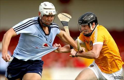 Mark Schutte and Michael Armstrong in action in the All-Ireland Under-21 hurling semi-final in August